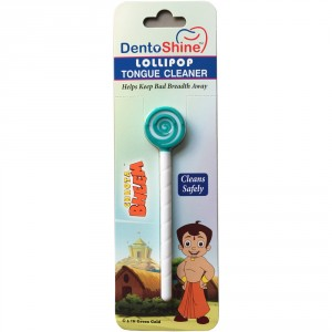 Buy DentoShine Chhota Bheem Lollipop Tongue Cleaner For Kids - Green And White - Nykaa