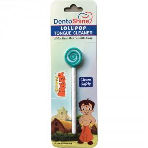 Buy DentoShine Chhota Bheem Lollipop Tongue Cleaner For Kids - Green And White - Nykaa