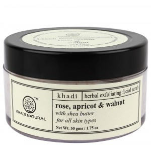 Buy Khadi Natural Rose, Apricot & Walnut Herbal Exfoliating Facial Scrub With Shea Butter - Nykaa