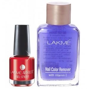 Buy Lakme Absolute Gel Stylist Nail Polish - Tomato Tango + Lakme Nail Colour Remover With Vitamin E - Nykaa