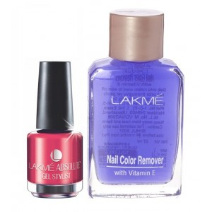 Buy Lakme Absolute Gel Stylist Nail Polish - Coral Rush + Lakme Nail Colour Remover With Vitamin E - Nykaa