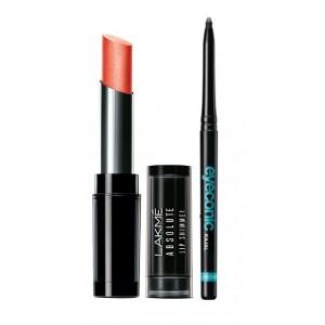 Buy Lakme Absolute Illuminating Lip Shimmer - Scarlet Magic + Lakme Eyeconic Kajal - Black - Nykaa