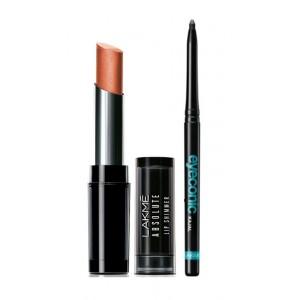 Buy Lakme Absolute Illuminating Lip Shimmer - Bronze Flake + Lakme Eyeconic Kajal - Black - Nykaa