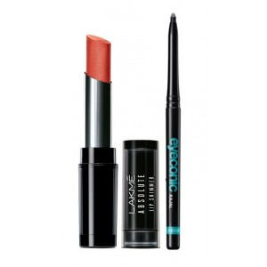 Buy Lakme Absolute Illuminating Lip Shimmer - Metal Rust + Lakme Eyeconic Kajal - Black - Nykaa