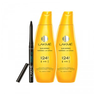 Buy Lakme Sun Expert Fairness + UV Lotion SPF 24 PA++ 120ml + 60ml + Free Eyeconic Kajal - Full Size Tester - Nykaa