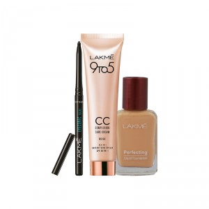 Buy Lakme Complexion Care Face Cream - Beige + Perfecting Liquid Foundation - Pearl + Free Eyeconic Kajal - Full Size Tester - Nykaa