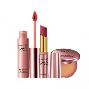 Buy Lakme 9 to 5 Primer + Matte Powder Foundation Compact - Natural Light + Primer + Matte Lip Color - MR18 Maroon Mix + Free Weightless Matte Mousse Lip & Cheek Color Full Size Tester - Nykaa