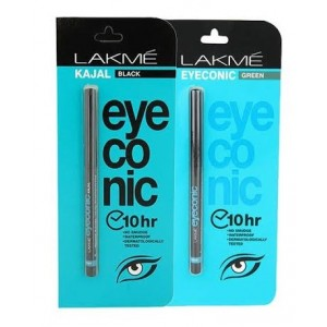 Buy Lakme Eyeconic Kajal - Green + Black (Pack Of 2) - Nykaa