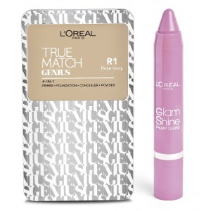 Buy L'Oreal Paris True Match Genius - Rose Ivory R1 + Free Glam Shine Balmy Gloss - Lychee Lust - Nykaa
