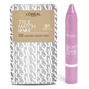 Buy Herbal L'Oreal Paris True Match Genius - Gold Ivory G1 + Free Glam Shine Balmy Gloss - Lychee Lust - Nykaa