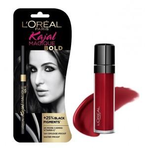 Buy L'Oreal Paris Infallible Mega Gloss - 106 Alerte Rouge + Free Kajal Magique Bold - Nykaa