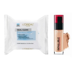 Buy L'Oreal Paris Infallible 24h Foundation - 300 Amber + Free Ideal Skin Makeup Removing Towelettes - Nykaa