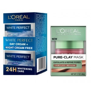 Buy L'Oreal Paris Pure Clay Mask Exfoliate & Refine Pores + White Perfect Day + Night Cream Combo Pack - Nykaa