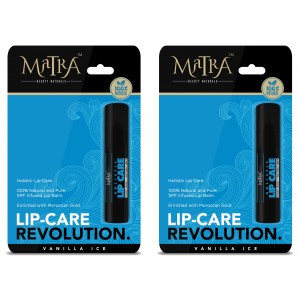 Buy Matra 100% Natural Lip Balm Vanilla Ice, SPF & Moroccan Gold Infused - Pack of 2 - Nykaa