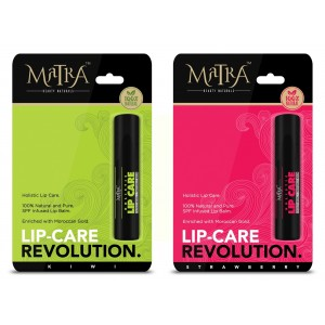 Buy Matra 100% Natural Lip Balm Strawberry, Kiwi, SPF & Moroccan Gold Infused - Pack of 2 - Nykaa