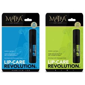 Buy Matra 100% Natural Lip Balm Kiwi, Vanilla Ice, SPF & Moroccan Gold Infused - Pack of 2 - Nykaa