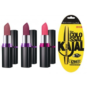 Buy Buy Maybelline Color Show Matte Lipstick M401 + M402 + M101 & Get Colossal Kajal Free - Nykaa