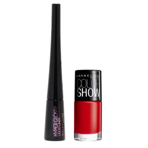 Buy Maybelline Hyper Glossy Liquid Eyeliner - Black + Free Color Show Nail Lacquer - Downtown Red - Nykaa