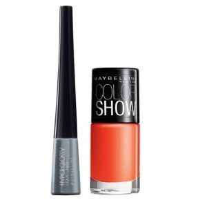 Buy Maybelline Hyper Glossy Electrics Eyeliner - Silver Trance + Free Color Show Nail Lacquer - Orange Fix - Nykaa