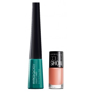 Buy Maybelline Hyper Glossy Electrics Eyeliner - Lazer Green + Free Color Show Nail Lacquer - Nude Skin - Nykaa