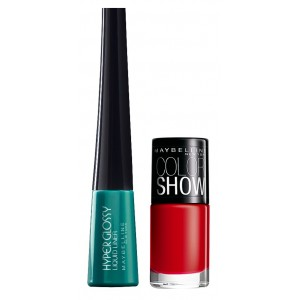 Buy Herbal Maybelline Hyper Glossy Electrics Eyeliner - Lazer Green + Free Color Show Nail Lacquer - Downtown Red - Nykaa