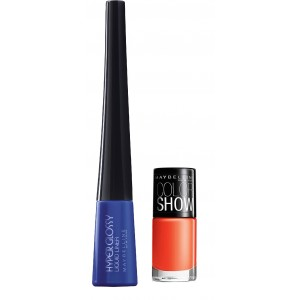 Buy Maybelline Hyper Glossy Electrics Eyeliner - Electro-Shock + Free Color Show Nail Lacquer - Orange Fix - Nykaa