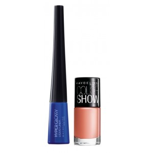 Buy Maybelline Hyper Glossy Electrics Eyeliner - Electro-Shock + Free Color Show Nail Lacquer - Nude Skin - Nykaa