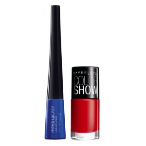 Buy Maybelline Hyper Glossy Electrics Eyeliner - Electro-Shock + Free Color Show Nail Lacquer - Downtown Red - Nykaa