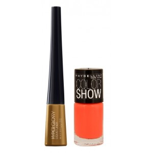 Buy Maybelline Hyper Glossy Electrics Eyeliner - Gold-Lation + Free Color Show Nail Lacquer - Orange Fix - Nykaa