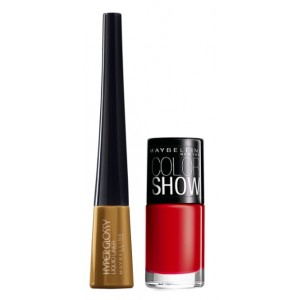 Buy Maybelline Hyper Glossy Electrics Eyeliner - Gold-Lation + Free Color Show Nail Lacquer - Downtown Red - Nykaa