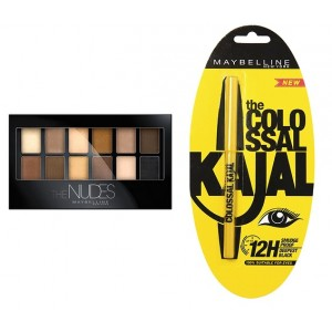 Buy Maybelline New York The Nudes Eyeshadow Palette + Free Colossal Kajal - Nykaa