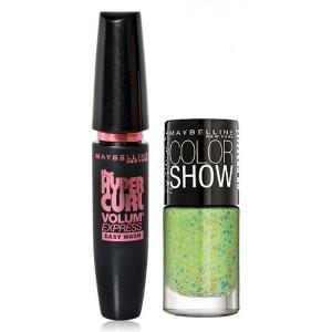 Buy Herbal Maybelline Volum Express Hyper Curl Mascara - Washable + Free Graffiti Nail Polish - Green Graffiti - Nykaa