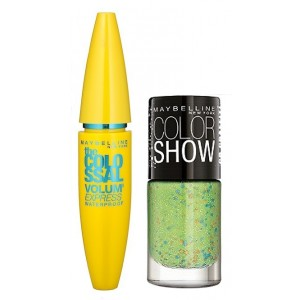 Buy Maybelline The Colossal Volum Express Mascara - Waterproof + Free Graffiti Nail Polish - Green Graffiti - Nykaa