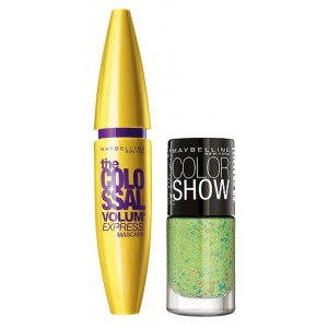 Buy Maybelline The Colossal Volum Express Mascara - Washable + Free Graffiti Nail Polish - Green Graffiti - Nykaa