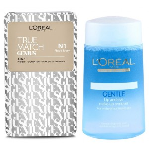 Buy Buy L'Oreal Paris True Match Genius 4-In-1 Compact Foundation - Nude Ivory N1 & Get Lip And Eye Make-Up Remover Free - Nykaa