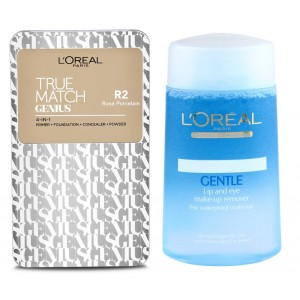 Buy Buy L'Oreal Paris True Match Genius 4-In-1 Compact Foundation - Rose Porcelain R2 & Get Lip And Eye Make-Up Remover Free - Nykaa