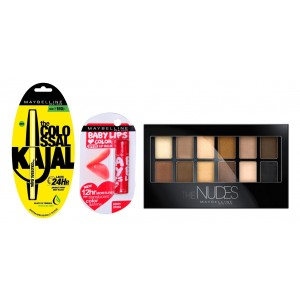 Buy Buy Maybelline New York The Nudes Eyeshadow Palette & Get Colossal Kajal 24HR & Baby Lips Free - Nykaa