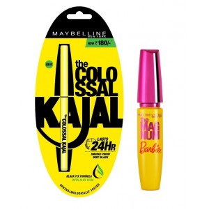 Buy Maybelline New York Magnum Barbie Mascara + Free Colossal Kajal 24HR - Nykaa