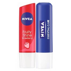 Buy Nivea Fruity Shine Strawberry + Free Essential Lip Care Lip Balm  - Nykaa