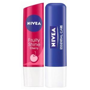 Buy Nivea Fruity Shine Cherry + Free Essential Lip Care Lip Balm  - Nykaa