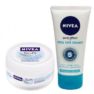 Buy Nivea Soft Cream + Free Nivea Total Face Clean Up Face Wash - Nykaa