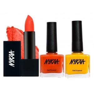 Buy Nykaa Sun Downer Lipstick & Nail  Combo - Nykaa