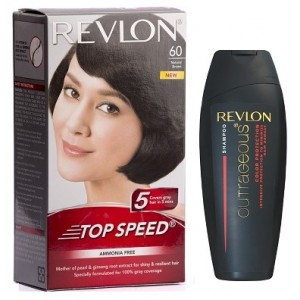 Buy Revlon Top Speed Hair Color - Woman (Natural Brown 60) With Free Color Protection Shampoo Worth Rs. 115/- - Nykaa