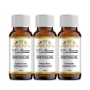 Buy R.K's Aroma Lemongrass,Palma Rosa,Citronella (Pack of 3,10 ml Each) Essential Oil - Nykaa