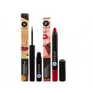 Buy SUGARMatte As Hell Crayon Lipstick - Scarlett O'Hara & Eyeliner + Sharpener Combo - Nykaa
