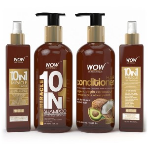 Buy WOW 10 in 1 Miracle Hair Oil + Miracle 10 in 1 Shampoo + Hair Conditioner + Miracle 10 in 1 Hair Revitalizer - Nykaa
