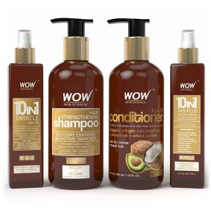 Buy WOW 10 in 1 Miracle Hair Oil + Hair Strengthening Shampoo + Hair Conditioner + Miracle 10 in 1 Hair Revitalizer - Nykaa
