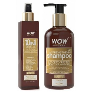 Buy WOW 10 in 1 Miracle Hair Revitalizer + Organics Hair Strengthening Shampoo Free Paraben Sulphate - Nykaa