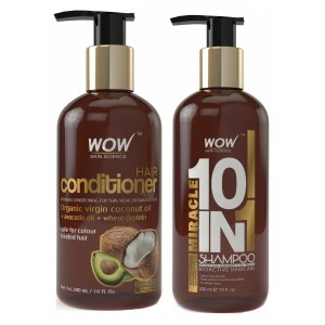 Buy WOW Hair Conditioner + Organics Miracle 10 in 1 Shampoo(300ml) Paraben Sulphate Free - Nykaa