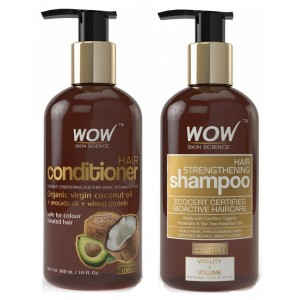 Buy WOW Hair Conditioner + Organics Hair Strengthening Shampoo Free Paraben Sulphate - Nykaa
